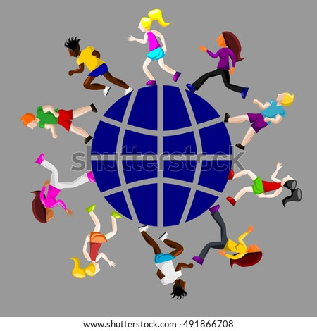 Running world. People of different nationalities running and jogging,