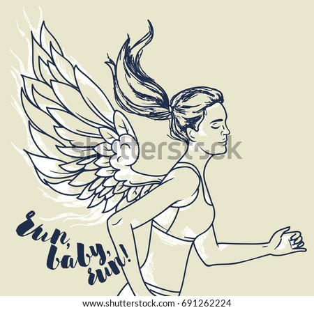 running young and slim woman with fantasy wings, motivation poster, sketch style vector illustration