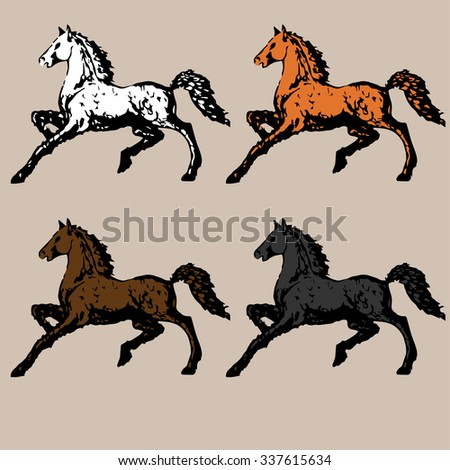 runs a beautiful horse with a fluffy mane and tail - stock vector