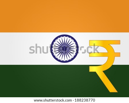 Rupee Currency Sign over the Indian Flag EPS 10 - stock vector
