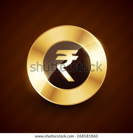rupee golden coin design with shiny effects vector design - stock vector