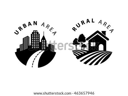 Rural Urban Flat Icon Stock Vector (Royalty Free ...