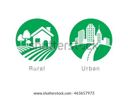 Rural and urban flat icon