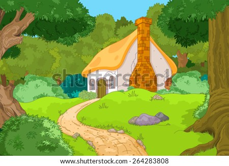 Rural Cartoon Forest Cabin Landscape - stock vector