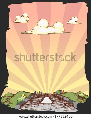 rural hand draw, highway street to the big city - stock vector