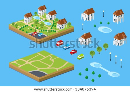 Rural house isometric set of facilities for the construction of the rural landscape of the isometric - stock vector