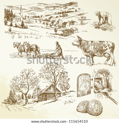 rural landscape, agriculture, farming - stock vector