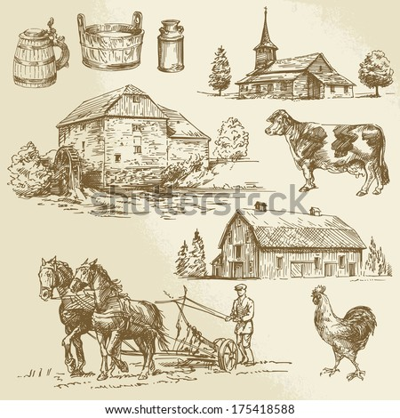 rural landscape, farm, hand drawn watermill - stock vector