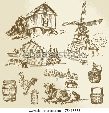 rural landscape, farm - hand drawn windmill and watermill - stock vector
