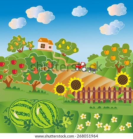 Rural landscape. Fruit garden, watermelon field, fence with sunflower. Red tractor, village house. Vector illustration. Pear tree, apple tree.