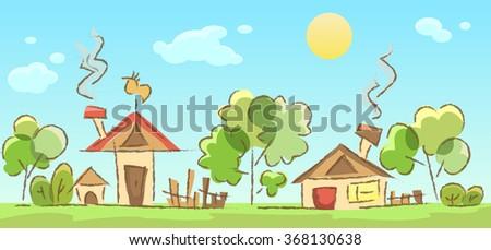 rural landscape sketch, vector illustration - stock vector