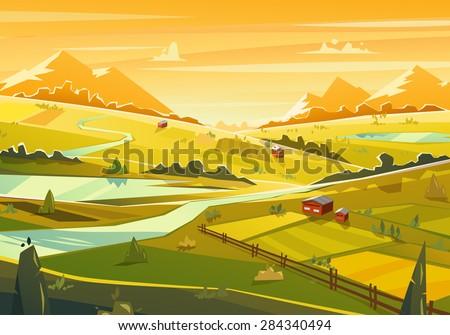 Rural landscape. Vector design illustration for web design development, natural landscape graphics. - stock vector