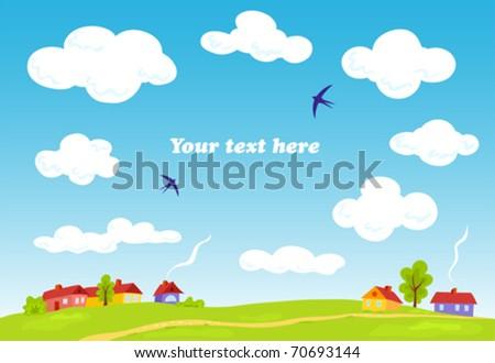 Rural landscape. Vector summer background. Illustration. - stock vector