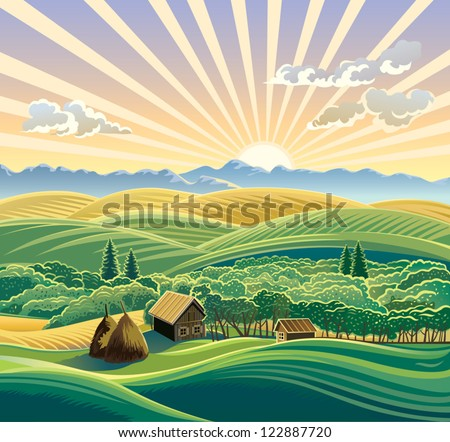 Rural landscape with a hut. - stock vector