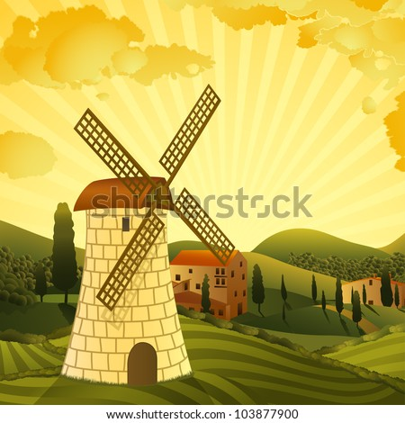 Rural landscape with a mill - stock vector