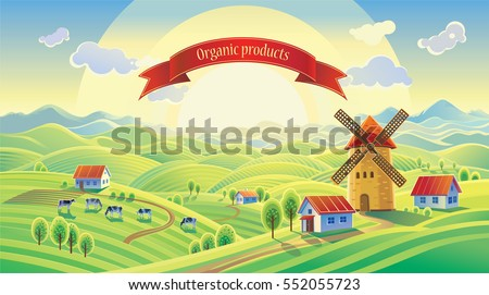 Rural landscape with a mill and a ribbon with the inscription.