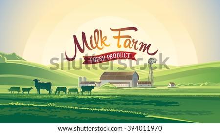 Rural landscape with farm and milk herd cows. Milk farm. - stock vector