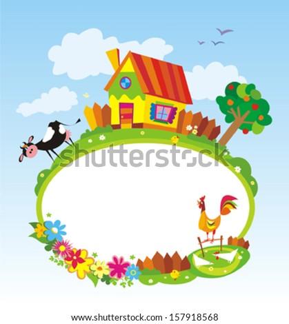 Rural landscape with farm animals. Frame. Vector illustration.  - stock vector