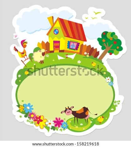 Rural landscape with farm animals. Vector illustration. - stock vector