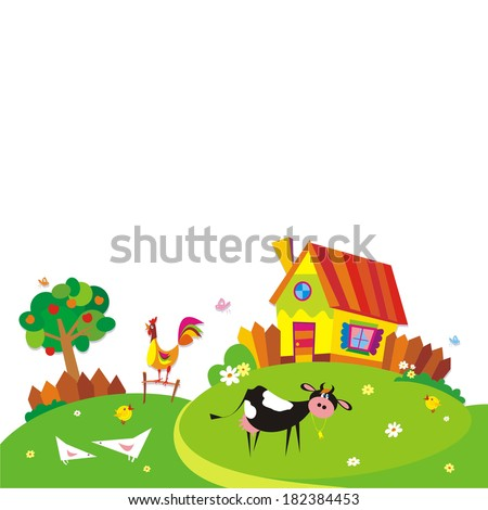 Rural landscape with farm animals. Vector illustration.