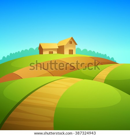 Rural landscape with farm barn, cartoon vector illustration.