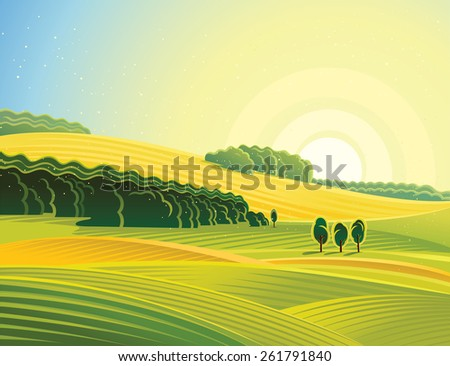 Rural landscape with field. Morning mood. - stock vector