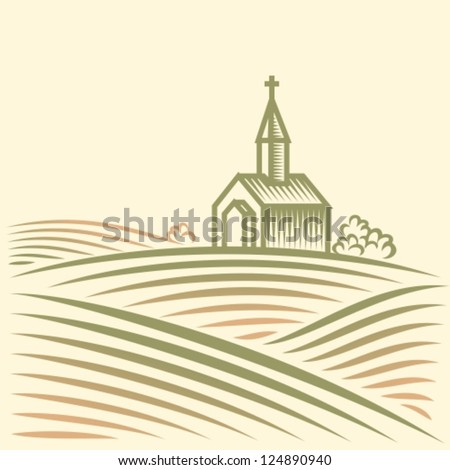 Rural landscape with fields and church - stock vector