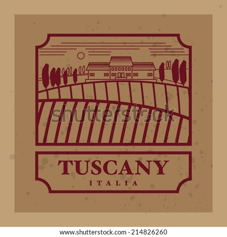 Rural landscape with fields and hills with the text Tuscany, Italia, vector illustration