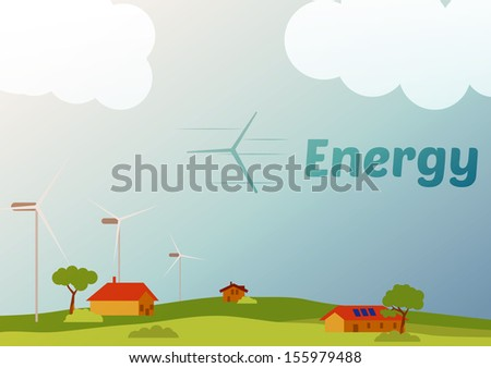 Rural Landscape with Fields Wind Farm -Vector Illustration - stock vector