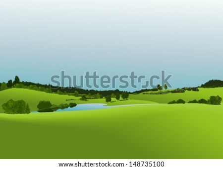 Rural landscape with green fields  - stock vector