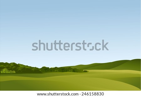 Rural landscape with green hills - stock vector