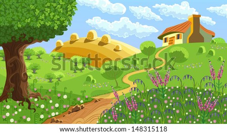Rural landscape with hills, house, garden and hay - stock vector