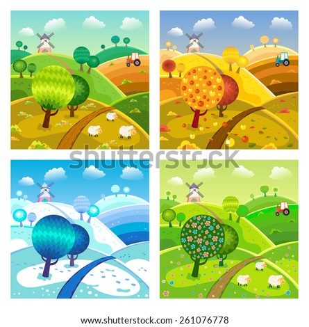 Rural landscape with hills, trees, sheeps and tractor. Four seasons. - stock vector