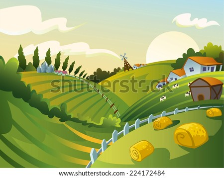 Rural landscape with house and hay cartoon illustration - stock vector