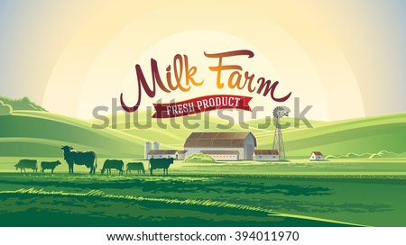 Rural landscape with milk farm and herd cows.  - stock vector