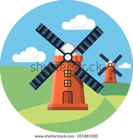Rural Landscape with Mills.Vector Illustration   - stock vector