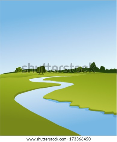 Rural landscape with river - stock vector