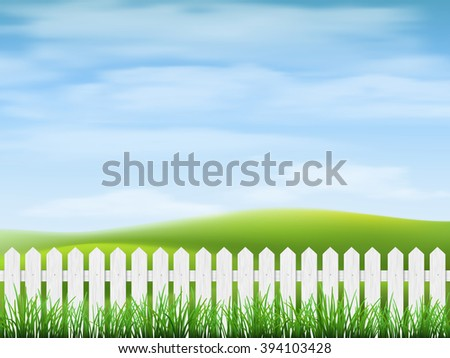 Rural landscape with sky, hills, grass and fence on foreground. - stock vector