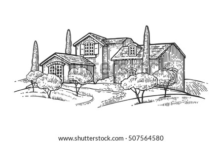 Rural landscape with villa or farm with field, olive tree and cypress. Vector engraving vintage black illustration. Isolated on white background.