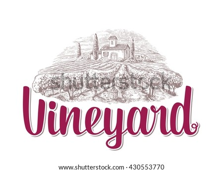Rural landscape with villa, vineyard fields and hills. Black and white drawn vintage vector illustration for label, poster. - stock vector