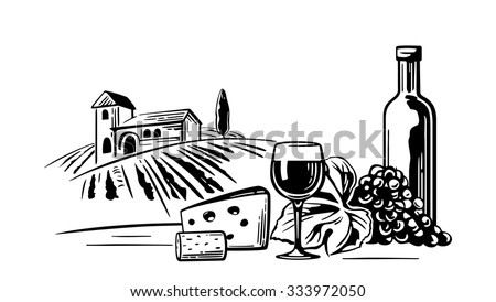Rural landscape with villa, vineyard fields and hills. Bottle, glass, cork, bunch of grapes, cheese. Black and white vintage vector illustration for label, poster, web, icon. - stock vector