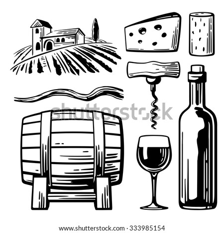 Rural landscape with villa, vineyard fields and hills. Bottle, glass, corkscrew, vine, cork, barrel, cheese. Black and white vintage vector illustration for label, poster, web, icon. - stock vector