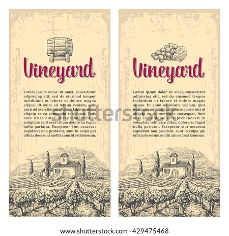 Rural landscape with villa, vineyard fields and hills. Vector engraving drawn vintage illustration. Old paper beige texture background. For label, poster, vertical banner. - stock vector
