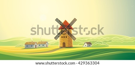 Rural landscape with windmills and houses - bakeries. Summer dawn landscape. Bread baking. - stock vector