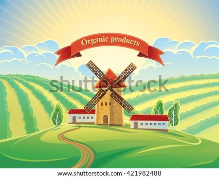 Rural landscape with windmills and tape as a design element. Summer dawn landscape. - stock vector