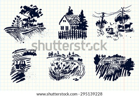 Rural landscapes artistic silhouettes set - stock vector