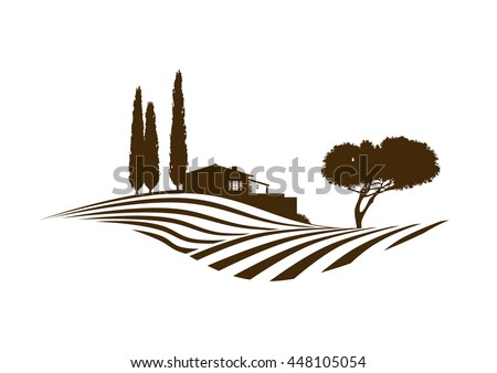 rural mediterranean vector landscape with fields, house and cypresses - stock vector