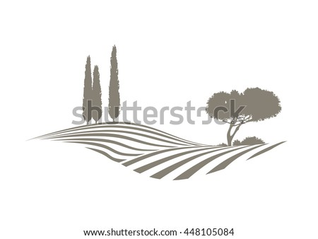 rural mediterranean vector landscape with plowed fields, cypresses and pine tree - stock vector
