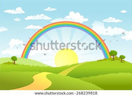 Rural scene with rainbow and bright sun, house and trees on sunny day - stock vector