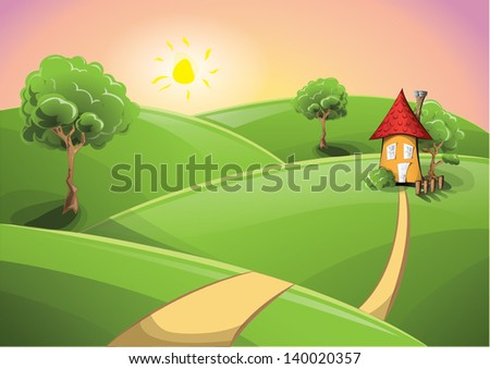 Rural scenery sunset with a cosy house, EPS 10